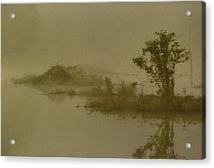 The Lodge In The Mist Acrylic Print by Skip Willits