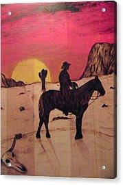 The Lone Cowboy Acrylic Print by Andrew Siecienski