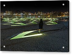 The Lonely Tourist At Pentagon Memorial Acrylic Print by Metro DC Photography