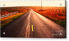 The Long Road Home . Painterly Style . Wide Size Acrylic Print by Wingsdomain Art and Photography