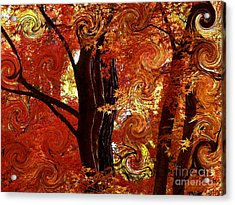 The Magic Of Autumn - Digital Abstract Acrylic Print by Carol Groenen