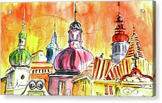 The Magical Roofs Of Prague 01 Bis Acrylic Print by Miki De Goodaboom