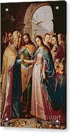The Marriage Of Mary And Joseph Acrylic Print by Mexican School