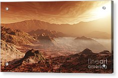 The Martian Sun Sets Over The High Acrylic Print by Steven Hobbs
