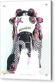The Misfit Cyberpunk Pussy Cat Jones Version 1.0 Acrylic Print by Oddball Art Co by Lizzy Love