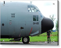 The Nose Of A Hercules C-130 Airplane Acrylic Print by Luc De Jaeger