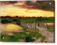 The Old Bridge Over Hook Pond Acrylic Print by Thomas Moran