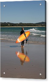 The Orange Surfboard Acrylic Print by Jan Lawnikanis
