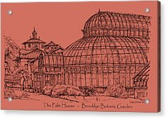 The Palm House In A Salmon Pink  Acrylic Print by Building  Art