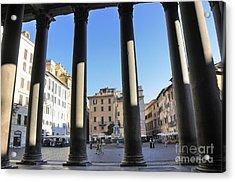 The Pantheon . Piazza Della Rotonda. Rome Acrylic Print by Bernard Jaubert