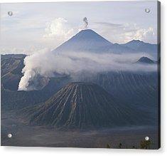 The Peak Of Semaru Rises Above Mount Acrylic Print by Carsten Peter