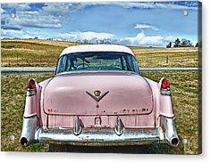 The Pink Cadillac Acrylic Print by Kathy Jennings