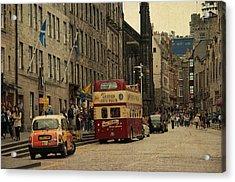 The Princes Street In Edinburgh. Scotland Acrylic Print by Jenny Rainbow