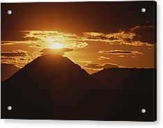 The Pyramid Of The Sun Silhouetted Acrylic Print by Kenneth Garrett