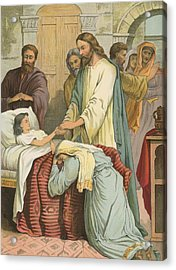 The Raising Of Jairus' Daughter Acrylic Print by English School