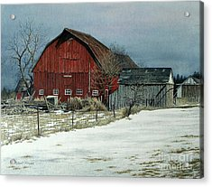The Red Barn Acrylic Print by Robert Hinves
