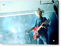 The Red Guitar Acrylic Print by Mary Frances