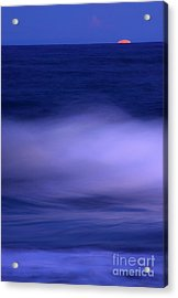 The Red Moon And The Sea Acrylic Print by Hannes Cmarits