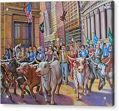 The Running Of The Bulls Acrylic Print by Henry David Potwin