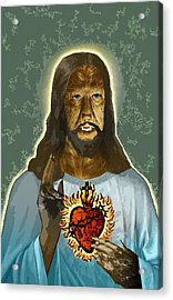 The Sacred Heart Of Wolfman Jesus Acrylic Print by Travis Burns