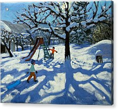 The Slide In Winter Acrylic Print by Andrew Macara