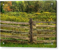 The Split Rail Meadow Acrylic Print by Benanne Stiens