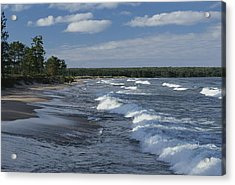The Surf Breaks On A Beach Acrylic Print by Raymond Gehman