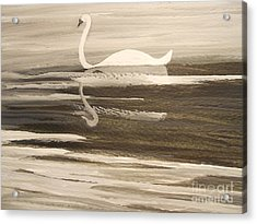 The Swans Song....melody Of Motherhood Acrylic Print by Barbara McNeil
