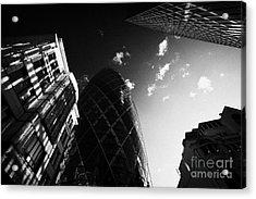 The Swiss Re Gherkin Building At 30 St Mary Axe City Of London England Uk United Kingdom Acrylic Print by Joe Fox