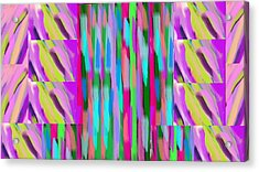 The Waves Violet Turquoise Pink Green Acrylic Print by Rosana Ortiz