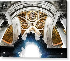 The West Doorway Of St Paul's Cathedral Acrylic Print by Steve Taylor