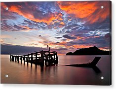 The Wreck In Sea With Fantastic Sky Acrylic Print by Arthit Somsakul