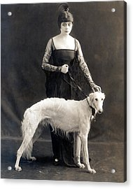 Theda Bara With Her Russian Wolfhound Acrylic Print by Everett
