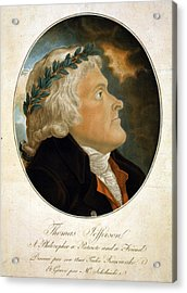 Thomas Jefferson, Color Aquatint Afte Acrylic Print by Everett