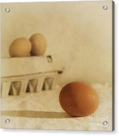 Three Eggs And A Egg Box Acrylic Print by Priska Wettstein