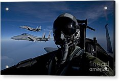 Three F-15 Eagles Fly High Acrylic Print by HIGH-G Productions