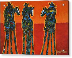 Three In Orange Acrylic Print by Lance Headlee