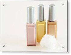 Three Makeup Bottles Acrylic Print by Blink Images