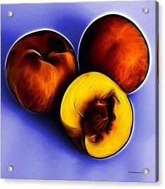 Three Peaches - Blue Acrylic Print by James Ahn