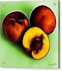 Three Peaches - Green Acrylic Print by James Ahn