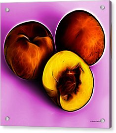 Three Peaches - Magenta Acrylic Print by James Ahn