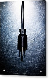 Three-pronged Electrical Plug On Stainless Steel. Acrylic Print by Ballyscanlon