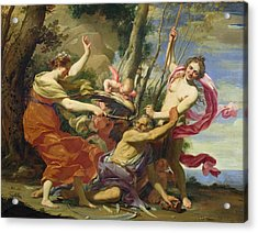 Time Overcome By Youth And Beauty Acrylic Print by Simon Vouet