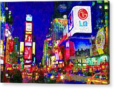 Times Square Acrylic Print by Michael Petrizzo