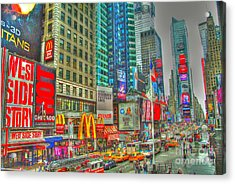 Times Square One Acrylic Print by Alberta Brown Buller