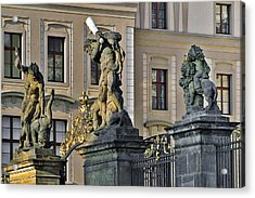 Titans Battling Outside Prague Castle Acrylic Print by Christine Till
