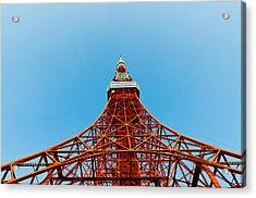 Tokyo Tower Faces Blue Sky Acrylic Print by Ulrich Schade