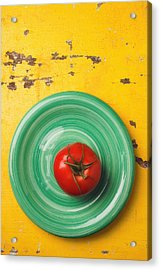 Tomato On Green Plate Acrylic Print by Garry Gay