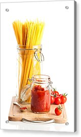 Tomatoes Sauce And  Spaghetti Pasta  Acrylic Print by Amanda And Christopher Elwell