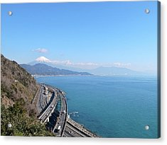 Tomei Expressway With Mt. Fuji Acrylic Print by Bun Buku